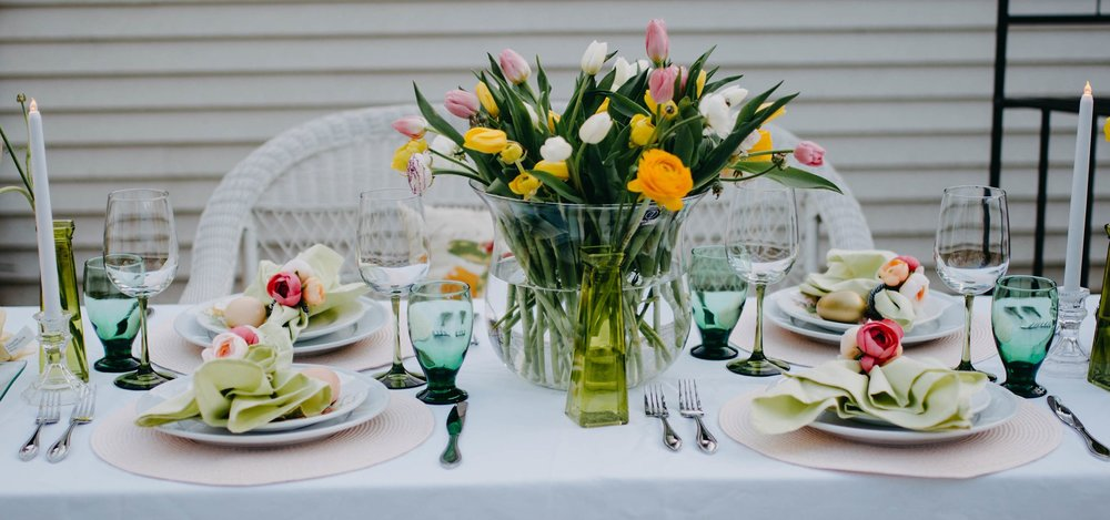 Colorful, spring Easter Tablescape - Always Creating Studio