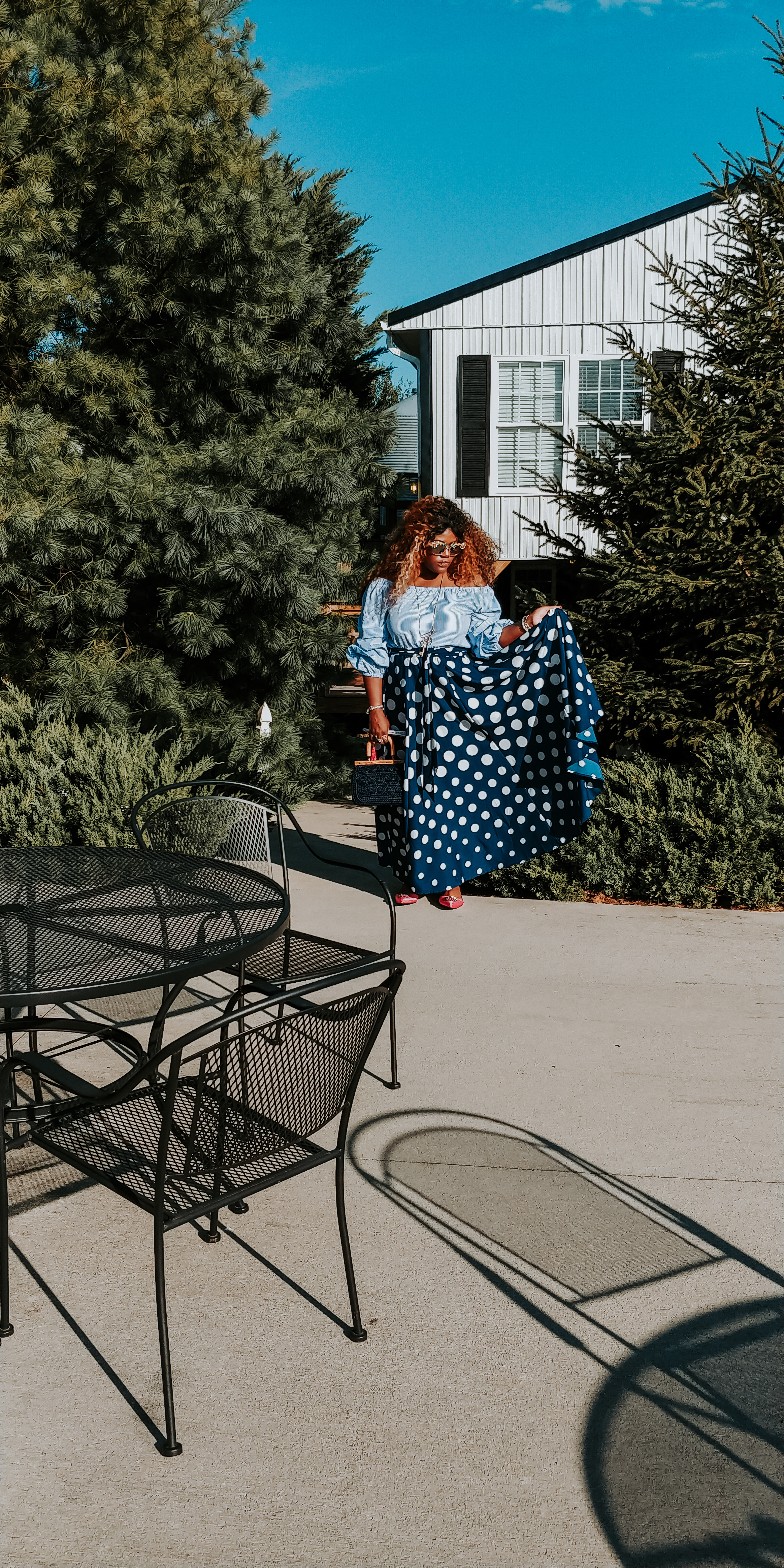 {Always Creating Blog // Navy Blue Polka Dot Maxi Skirt and Statement Sleeves}