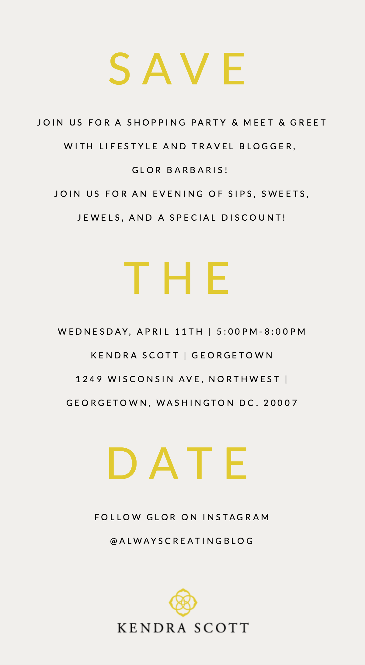 Save The Date - Follow Glor on Instagram