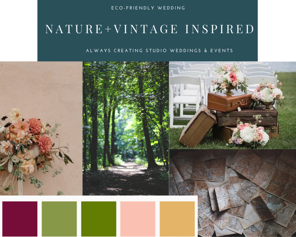 Design mood board for nature and vintage inspired wedding in Leesburg, Virginia; Eco-friendly wedding; green, gold, rose gold, ivory and burgundy